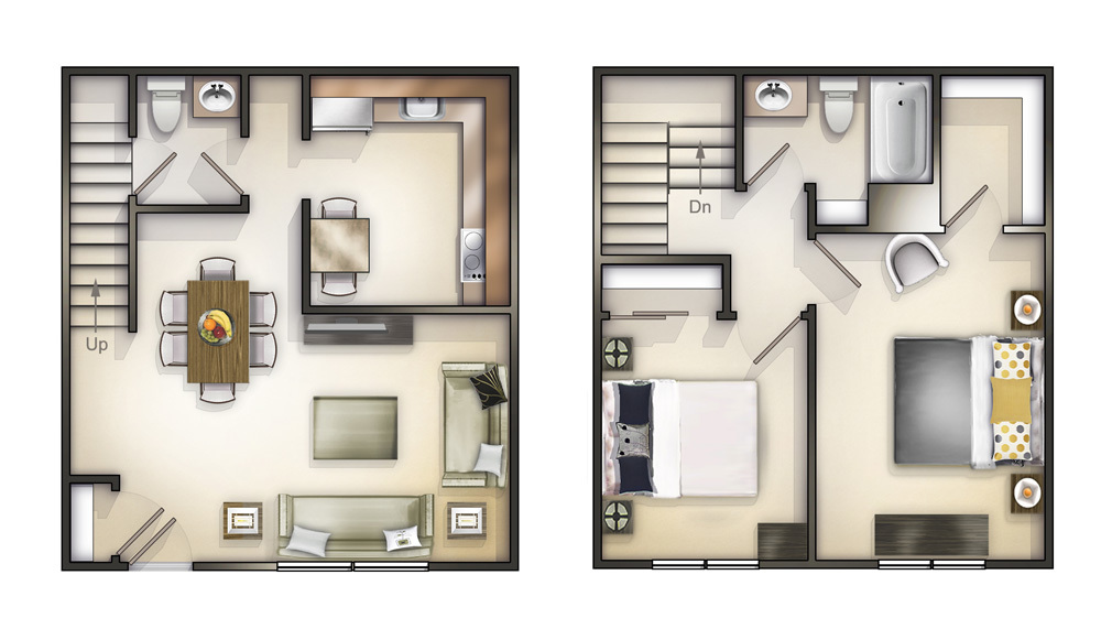 Chicago il apartments academy square floorplans for Two story apartment floor plans